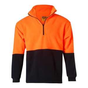 Hi Vis Two Tone Polar Fleece Sweater Unisex CASW07 Fluoro Orange Navy Front Workwear Jacket