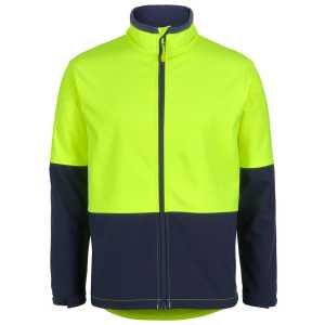 Hi Vis Water Resistant Soft Shell Jacket Unisex CA6HRJ Lime Navy Frontview Workwear Jacket