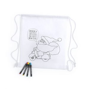 Kertan Christmas Colouring In Drawstring Backpack CAM5941 White with Christmas Print and Crayons