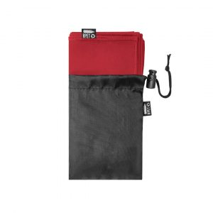 Klonet RPET Absorbent Recycled Towel CAM6851 Red with Black Drawstring Bag