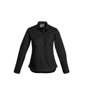Lightweight Long Sleeve Tradie Shirt Womens CAZWL121 Black Front Workwear Ladies Shirt