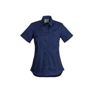 Lightweight Short Sleeve Tradie Shirt Womens CAZWL120 Blue Front Workwear Shirt