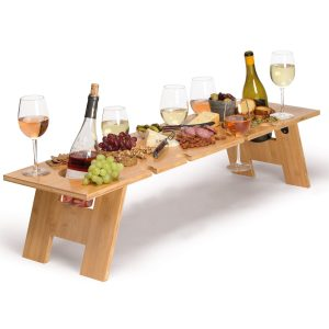 Lungo Two Bottle Tavolo Alfresco Table CAPOLTT Wood Lifestyle Image