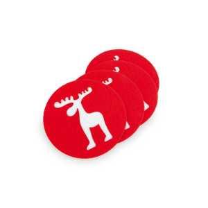 Mandi Raindeer Soft Coaster Set CAM3754 Christmas Red and White