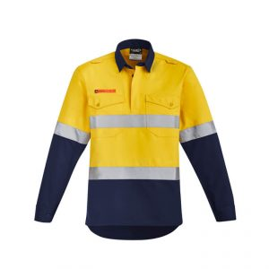 Orange Flame Closed Front HRC 2 Hoop Taped Spliced Shirt Mens CAZW143 YellowNavy Front Mens Shirt