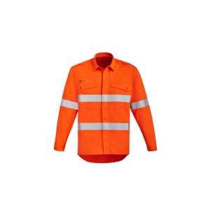 Orange Flame Open Front HRC 2 Hoop Taped Shirt Mens CAZW145 Orange Front Workwear Mens Shirt