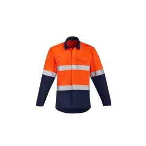 Orange Flame Open Front HRC 2 Hoop Taped Spliced Shirt Mens CAZW140 OrangeNavy Front Workwear Mens Shirt