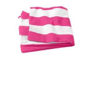 Port Authority Cabana Stripe Beach Towel. CAPT43 Tropical Pink