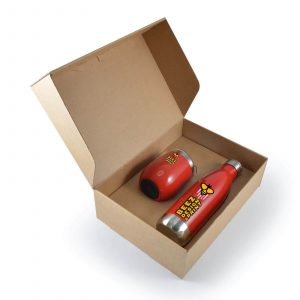 Pura Drink Bottle and Coffee Cup Gift Set LL8451 Red Branded in Gift Box