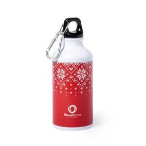 Raven Christmas Aluminium Drink Bottle CAM6664 Christmas White and Red Branded