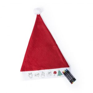 Rupler Kids Colouring In Christmas Hat CAM5598 Red White With Crayons