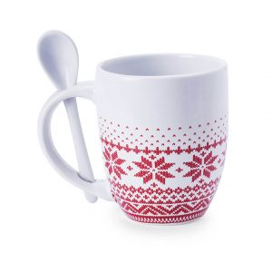 Sorbux Ceramic Christmas Mug With Spoon CAM5193 Christmas Front View with Spoon in Handle