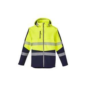 Stretch 2 in 1 Soft Shell Taped Jacket Unisex CAZJ453 YellowNavy Front Workwear Unisex Vest