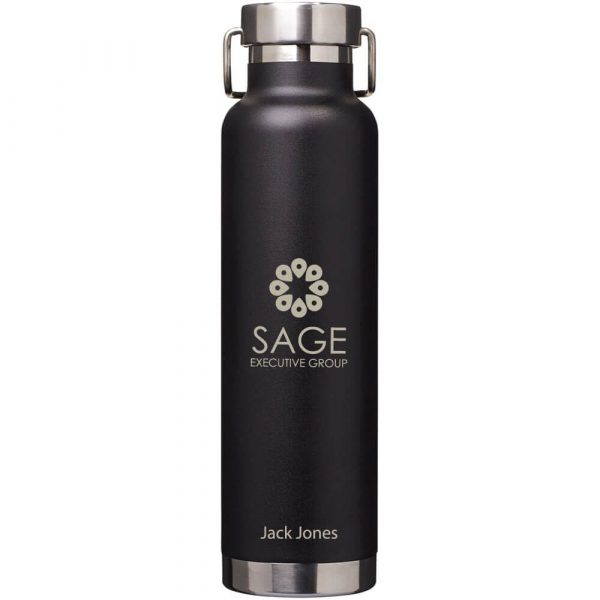 Thor Copper Vacuum Insulated Bottle CA4075 Black with branding 1