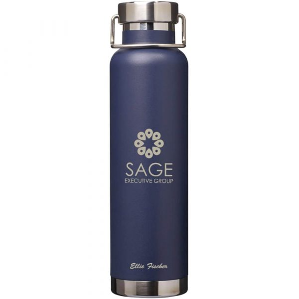 Thor Copper Vacuum Insulated Bottle CA4075 Navy with Branding