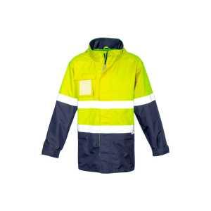 Ultralite Waterproof Jacket Mens CAZJ357 Yellow Navy Front Workwear Mens Jacket
