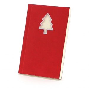 Vaides Notepad With Christmas Tree NOTEPAD VAIDES CAM4341 Christmas Red and White Front View