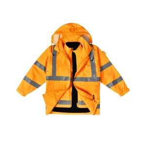 Vic Rail Hi Vis 3 in 1 Safety Jacket Vest Unisex CASW77 Front Orange Workwear Jacket with Hoodie