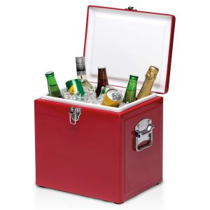 Vintage Cooler Box CAPOVCB Red Open Lifestyle Image