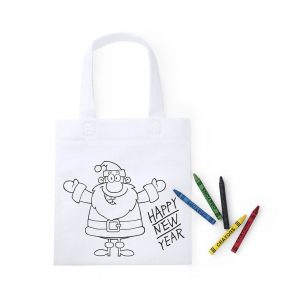 Wistick Christmas Colouring In Drawstring Backpack CAM5140 White with Christmas Print and Crayons