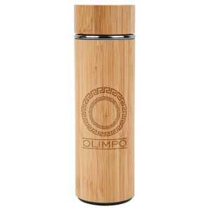 Bambu Eco Vacuum Stainless Steel Drink Bottle CAS844 Natural Logo