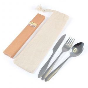 Banquet Stainless Steel Cutlery Set With Straws in Calico Pouch CALL8799 Natural All Contents