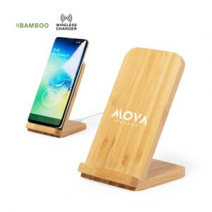 Dimper Bamboo Wireless Charger Stand CAM6521 Natural Branded Lifestyle Image