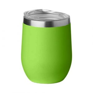 Egg Shape Vacuum Wine Coffee Cup CAMS001 Unbranded Side View Lime Green