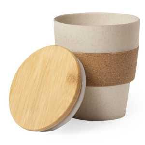 Hoplar Bamboo Cork Reuasable Coffee Cup CAM6568 Natural Open