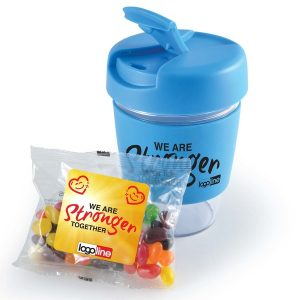 Jelly Beans In Reusable Kick Coffee Cup CALL0444 Branded