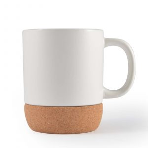 Magnum Ceramic Coffee Mug With Cork Base CALL0850 Unbranded Side View Natural White