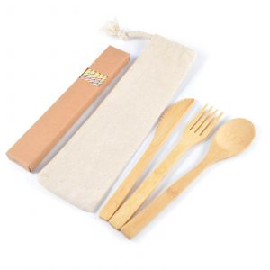 Miso Bamboo Cutlery Set Straws in Calico Pouch CALL8795 Natural Unbranded