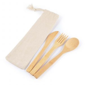 Miso Bamboo Cutlery Set in Calico Pouch CALL8794 Unbranded
