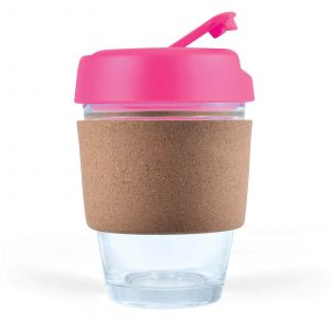 Mix n Match Vienna Glass Coffee Cup With Cork Band CALL0415 Unbranded Side View Lid Colour Pink