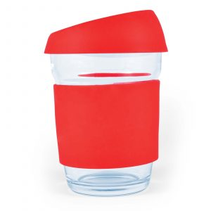 Mix n Match Vienna Glass Coffee Cup With Silicone Lid Band CALL0427 Unbranded Side View Red