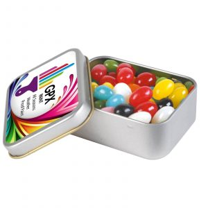 Mixed Jelly Beans In Rectangular Tin CALL334 Silver Rectangular Tin Open All Flavours Branded