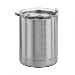 Paris Stainless Steel Vacuum Cup CAMS022 Unbranded Side View Clear Lid Silver