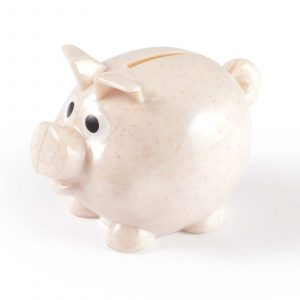 Small Wheat Fibre Eco Piggy Bank CALL3600 Natural Side View Unbranded